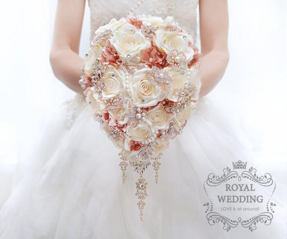 Cascading Flower BROOCH BOUQUET Gold Ivory Blush Pink Wedding | Etsy