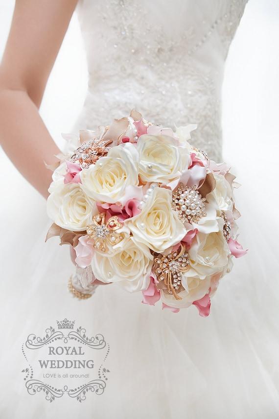 Silk Flower Brooch Bouquet Ivory Cream Blush Pink Fabric | Etsy