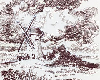 InkTober #4 - original ink art 'Windmill'