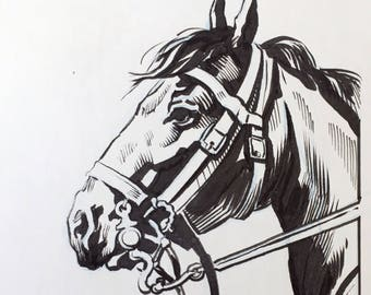 InkTober #22 - original ink art 'Horse'