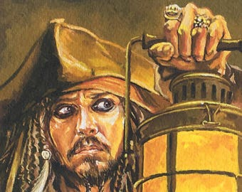 Original gouache painting of Captain Jack Sparrow from the film franchise Pirates of the Caribbean.