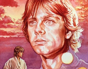 Original watercolour painting of Mark Hamill as Luke Skywalker from the film Star Wars: A New Hope.