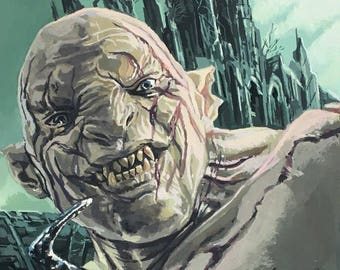 Original gouache painting of Azog the Defiler from the film franchise The Hobbit.