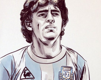 Diego Maradona. Original ink and marker illustration.