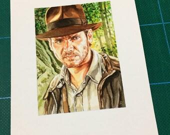 Original watercolour painting of Indiana Jones.