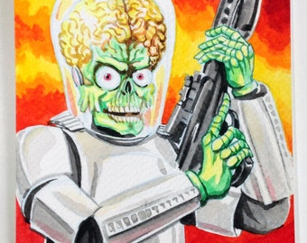 Mars Attacks Star Wars. Original watercolour painting of a Martian menace dressed as a Stormtrooper.