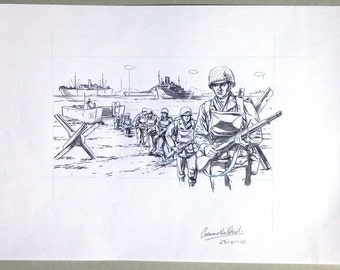 D-Day Landings. Original pencil illustration.