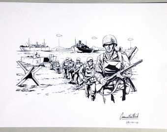 D-Day Landings. Original ink illustration.