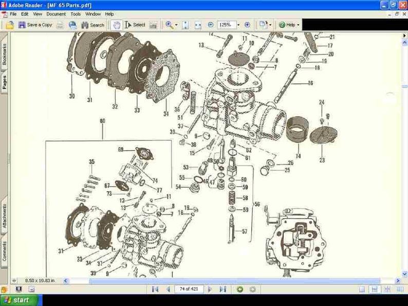 Massey Ferguson Mf 65 Parts Manuals 420pg For Gas Diesel
