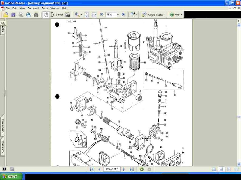 MASSEY FERGUSON MF1085 Parts Manual -210pgs for MF 1085 Tractor Repair &  Service with Detailed Exploded Diagrams