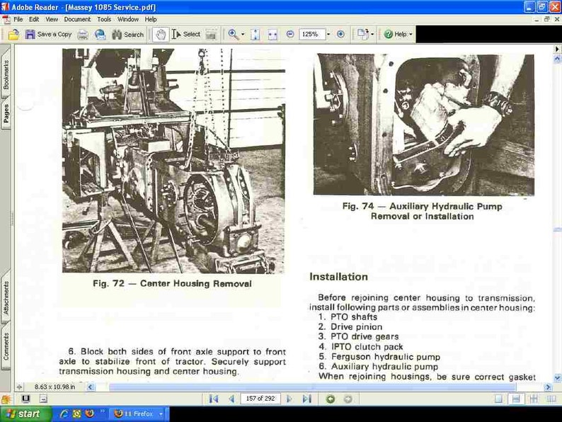 MASSEY FERGUSON MF1085 Workshop Service Manual - 290pgs for MF 1085 Tractor  Rebuilding & Repair