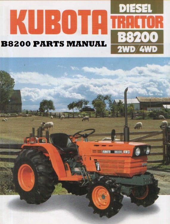 kubota b8200 dp hst b 8200 tractor parts manuals 390pgs with etsy kubota b8200 4x4 tractor kubota b8200 wiring diagram #11
