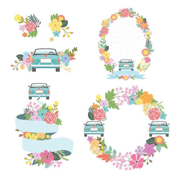 Susse Hochzeit Clipart Hochzeit Blumen Clipart Digitale Etsy