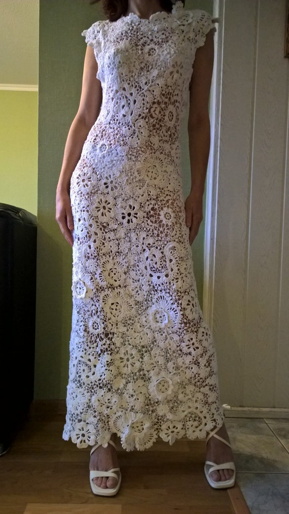 Crochet wedding dress irish lace irish lace dress white