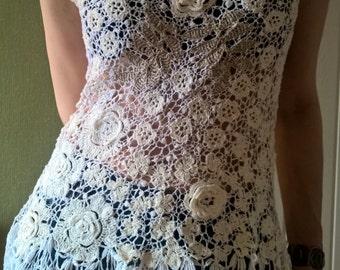 Tunic, associated Irish lace crochet.