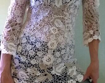 The shirt is crochet, Irish lace. Jacket Blazers.