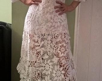 Long dress, crochet, Irish lace.