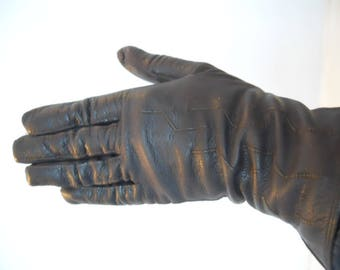 1940's Vintage Brown Leather Ladies Gloves. Driving Gloves. Fine Leather. Terrific Period Style