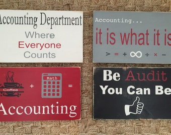 Accounting Custom Wood Signs with Fun Sayings