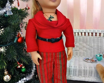 Red Cowl & Sparkling Pants - 18 inch Doll Clothes