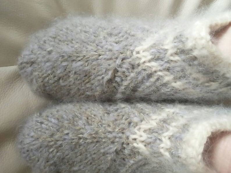 Grey hand knit mohair blend slippers for swollen or wide feet thick UK 4-6 warm US 7-8,5.