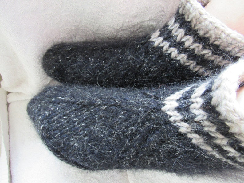 26c936d9380d7 Black hand knit slippers, thick, fluffy bed socks,cozy and warm.UK 5-7, US  6-8. Kozizake.