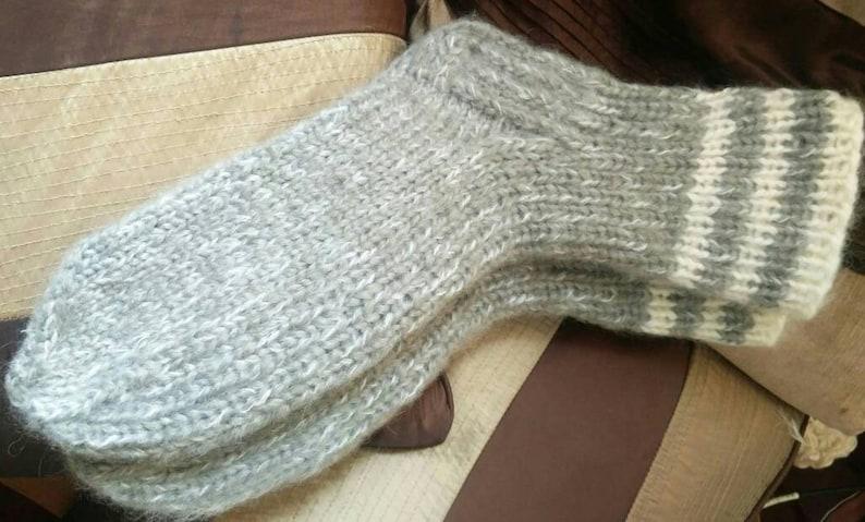 durable bed socks Any sizes.Xl-XXl sizes cozy Grey white Mohair blend socks soft Kozizake. slippers thick