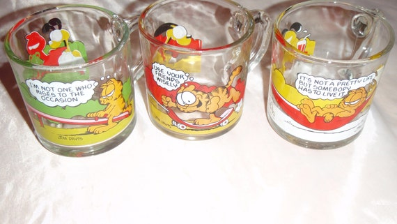 Mcdonald/'s Vintage Collectible 1978 Garfield Odie Glasses Lot Of 3