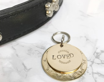 Ray of Sunshine dog tag - 'Loved' pet tag - personalised ID dog tag