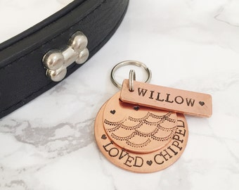 Burlesque Style Dog Tag - Copper Pet Tag - Personalised ID Dog Tag
