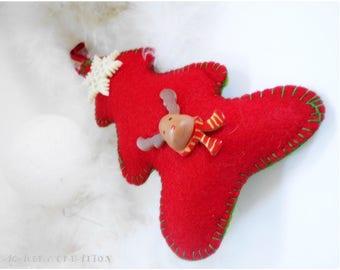 Décoration de Noël, sapin feutrine rouge et vert, sapin à suspendre, décoration noël fait main,  décoration sapin, décor de noel feutrine
