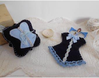 Scissors, stick pin, chic Corset case, elegant, Navy Blue felt, sewing case, put blue scissors, seamstress gift, Christmas gift