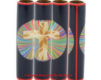 Christian Cross Pen Blanks Made With Alumilite | Cross In A Burst Of Colors | Religious Pen Blank