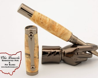 Handmade Wooden Buckeye Burl Rollerball Pen