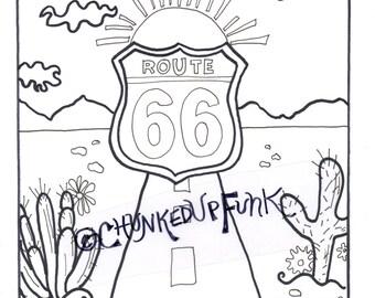 Kleurplaten Zonsondergang.Route 66 Kleurplaat Kleurplaat Volwassene Kinderen Kleuren Etsy