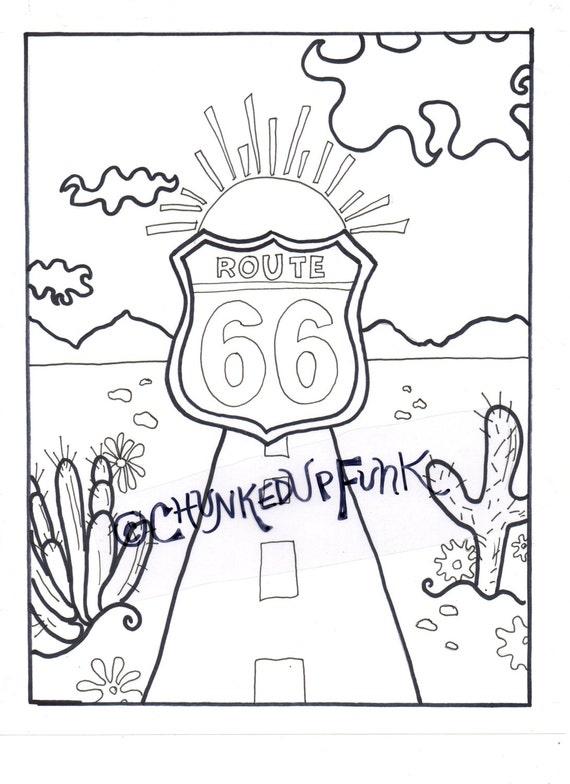 Volwassen kleurplaten boek Route 66 New Mexico Arizona | Etsy
