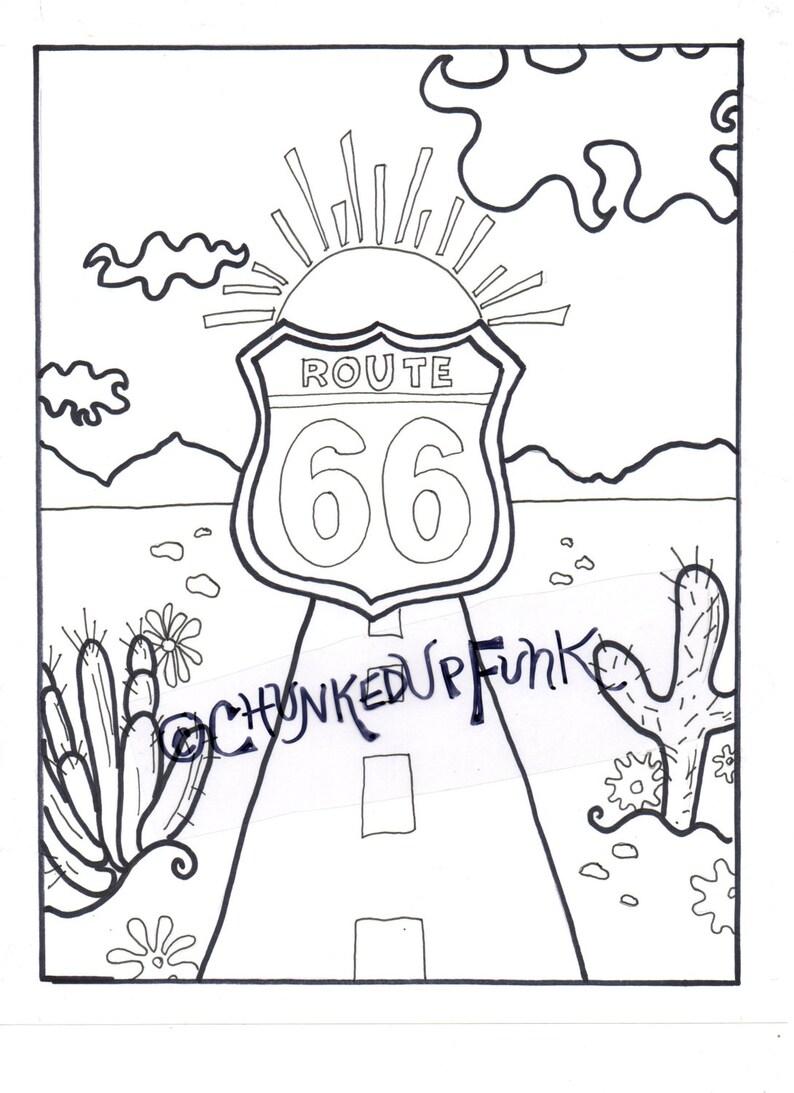Kleurplaten Zonsondergang.Volwassen Kleurplaten Boek Route 66 New Mexico Arizona Etsy