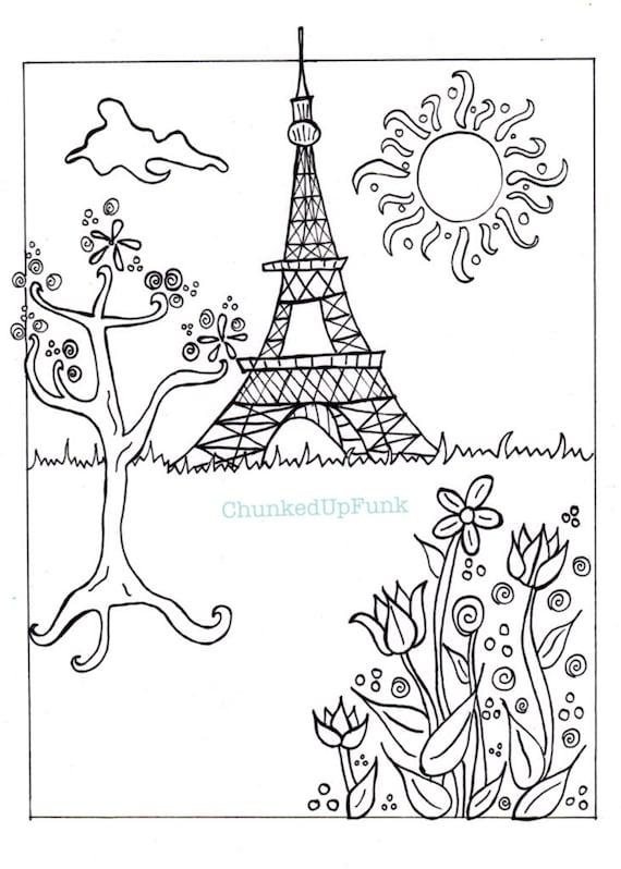 Ilustración de París página para colorear de PDF París en | Etsy