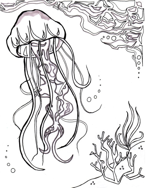 Medusas océano océano para colorear hoja arte acuático | Etsy