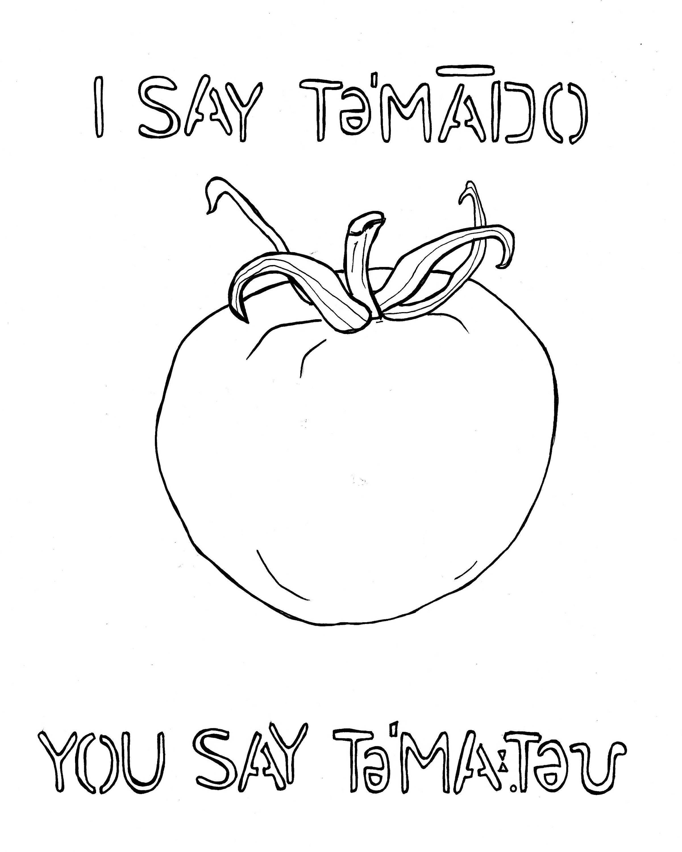 Digo Tomate Dices Tomate Para Colorear La Hoja Hoja De 8 X 10 Descarga Digital Para Colorear Amante Del Tomate Producir Granjero Mercado De