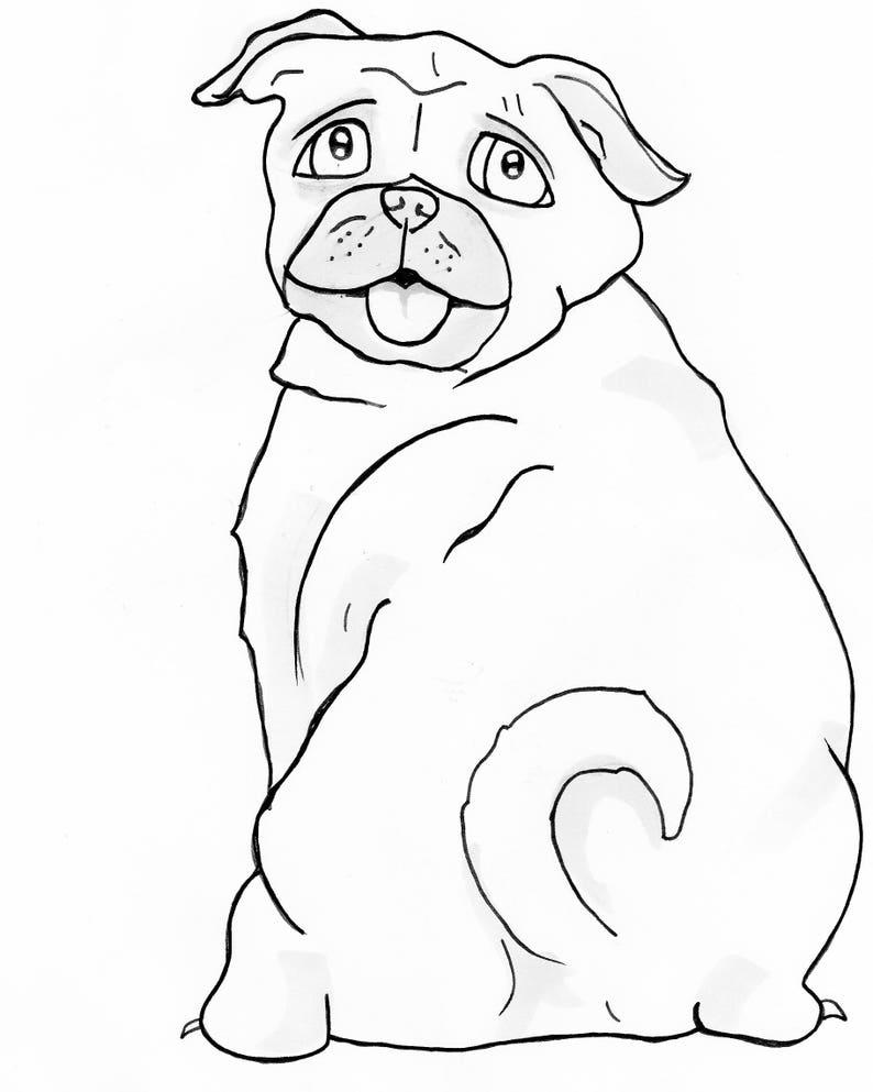 Kleurplaten Volwassenen Hond.Mopshond Kleurplaat Kleurplaat Hond 8 X 10 Afdrukken En Etsy
