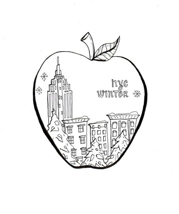 NYC para colorear arte gran manzana la impresión y el Color | Etsy