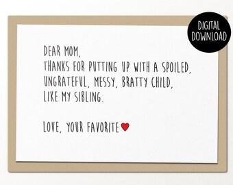 dear mom // printable greeting card // printable mothers day card