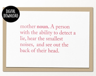 mother definition // printable greeting card // printable mothers day card
