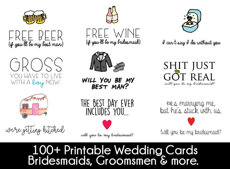 photo regarding I Can't Say I Do Without You Free Printable named marriage ceremony bridesmaid moh printable greeting card choice incorporates each card inside my retailer wedding day greeting card package
