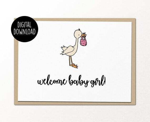 Sur la naissance de votre bébé-Fille Keepsake ci-joint Baby Carte
