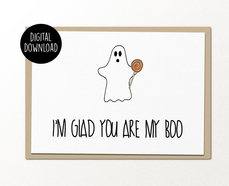 photograph about Printable Halloween Cards titled im satisfied on your own are my boo halloween printable card electronic down load amusing greeting card for good friend halloween greeting printable halloween card