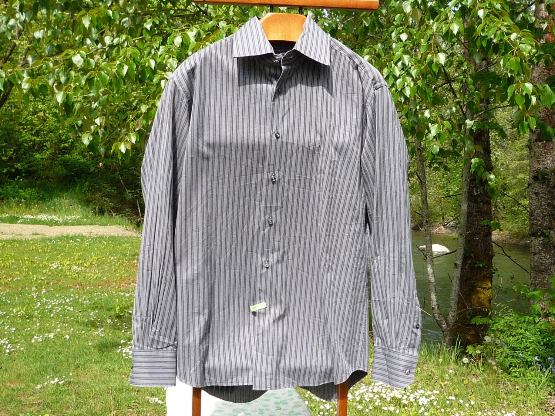 Hugo Boss 16 3435 Gray Striped Long Sleeve Shirt Hugo Boss M Etsy