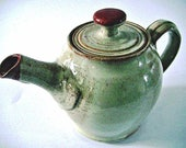 Wattlefield Pottery Teapot, handmade by Andrea Young.  Stoneware, beige with red.