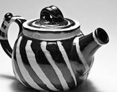 Wattlefield Pottery Teapot, handmade by Andrea Young.  Stoneware, black and white